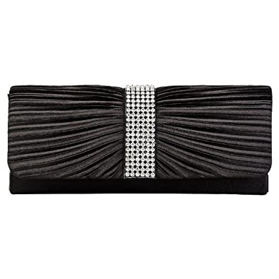 Womens Black Satin Diamante Ladies Pleated Bow Wedding Bridal Prom Handbag Clutch Bag