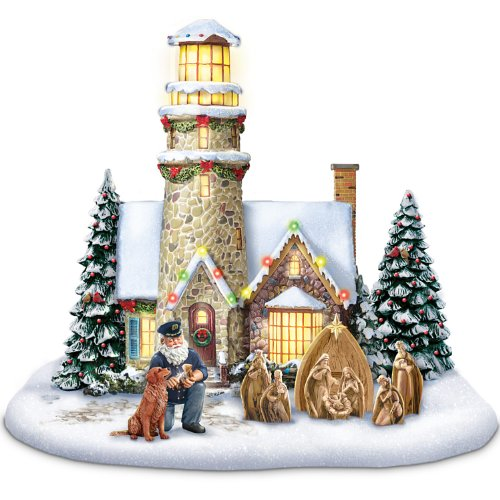 Thomas Kinkade Light Of Christmas Lighthouse Sculpture Celebrates The Spirit Of The Holidays With Light, Music And Wonder! - By Hawthorne Village
