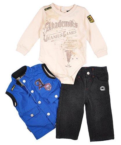 "Akademiks ""Jeanius Games"" 3-Piece Outfit (Sizes 0M - 9M) - black, 3 - 6 months"