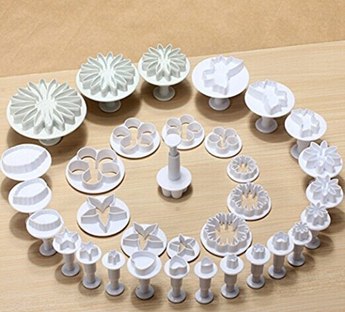 AUCH-10-Sets-33-Pcs-Spring-Fondant-Supplies-Plunger-Cutters-Sugarcraft-Cake-Decorating-Heart-Veined-Butterfly-Star-Daisy-Veined-Rose-Leaf-Carnation-Blossom-Flower-Sunflower-Other