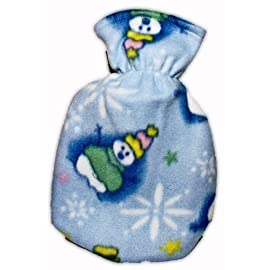 Warm Tradition SNOWMAN FLEECE CHILDREN'S Covered Hot Water Bottle - Bottle made in Germany, Cover made in USA