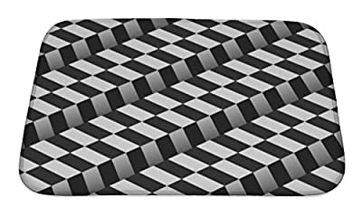 Gear New Bath Rug Mat No Slip Microfiber Memory Foam, 3d Checkered Black White Pattern