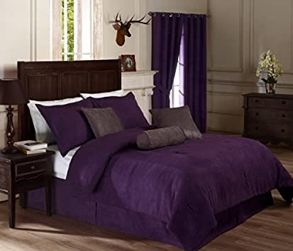 Popular Chezmoi Collection Pieces Solid Lavender Purple Micro Suede Comforter x bed in a bag Set Queen Size Bed