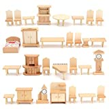 BangBang New 29 Pcs 1:24 Scale Dollhouse Miniature Unpainted Wooden Furniture Model Suite