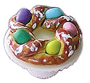 ... : Dollhouse Miniature Easter Bread Ring on a Cake Plate: Toys & Games