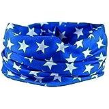 BLUE STAR BANDANA SCARF - RUFFNEK® Multifunctional Headwear Motorcycle Neck warmer - One Size