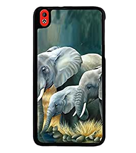 Fuson Premium 2D Back Case Cover Elephant pattern With White Background Degined For HTC Desire 826::HTC Desire 826 Dual