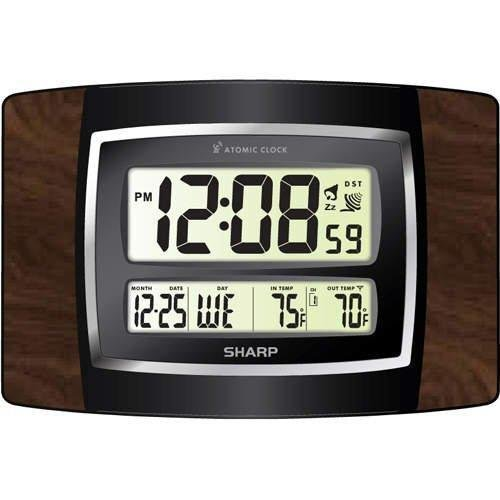 Sharp Digital Atomic Wall Clock Large Numbers and Wireless Indoor/Outdoor Temperature