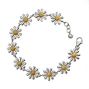 Silver Daisy Bracelet with gold vermeil centre. Lovely quality. Designer presentation box.
