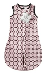 SwaddleDesigns Microplush Sleeping Sack, 2-Way Zipper, Mod Circles on Pink, 3-6MO