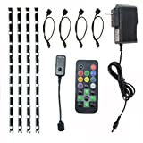 HitLights Multicolor RGB Color Changing Home Accent Easy Plug LED Lighting Kit with 4-1-Foot Light Strips, Remote Control and Power Adapter