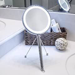 LED Lighted Makeup Mirror, Vanity Mirror, Hanging Mirror, and Hand Mirror in One - Includes Adjustable Stand Making it a Great Tabletop Bathroom Mirror at Any Angle - Magnifying Mirror is Double Sided (One 5X Magnification, the Other 1X) and Includes an On/Off Switch that Doubles as a Hook for Optional Hanging/Storage