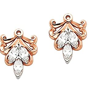 Pair of 18K Rose Gold Diamond Earring Jackets - 0.30 Ct. -- LIFETIME WARRANTY