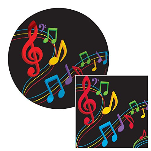 Dancing Music Notes Dessert Napkins & Plates Party Kit for 8