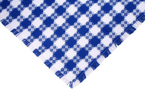 70 Inch (Round) Tavern Check Tablecloth, Hand Loomed Cotton, Made in USA, Blue