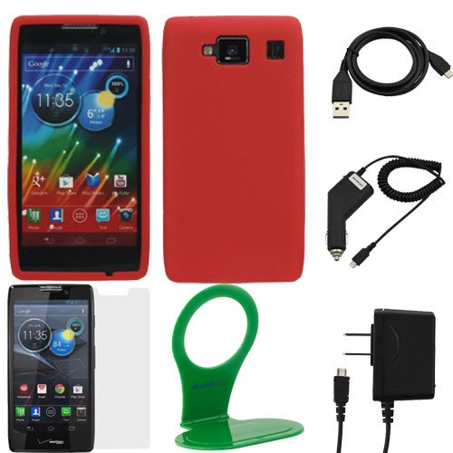 GTMax 6 Items Esstential Accessories Bundle Kit for Motorola DROID RAZR MAXX HD (Verizon) includes Case, Screen Protector, Charger, Cable, Holder