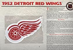 NHL 1952 Detroit Red Wings Official Patch on Team History Card