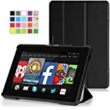 MoKo Amazon Kindle Fire HD 7 2014 Case - Ultra Slim Lightweight Smart-shell Cover Case for Amazon Kindle Fire HD 7 Inch 4th Generation Tablet, BLACK (With Smart Cover Auto Wake / Sleep)