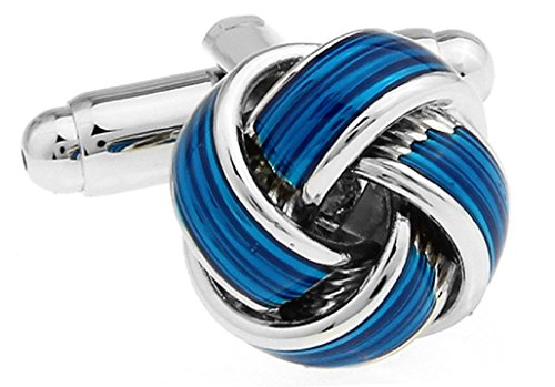 Knot Blue Cufflinks with a Presentation Gift Box