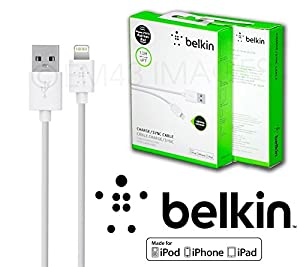 Belkin 4' OEM Lightning USB Data Cable Charger Cord Apple iPhone 5 5c 5s 6 6+ Ios 7, Ios 8 White from Belkin