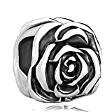 CharmsStory Rose Flower Silver Plated Charm Beads Charms For Bracelets