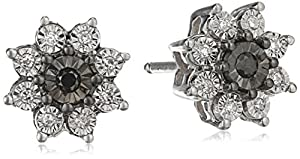 10k White Gold Flower Black Diamond Stud Earrings