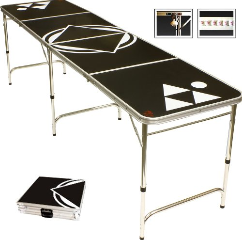 Beer Pong Table Black 8 FEET - Portable with Bottle Opener & 6 Pong Balls !