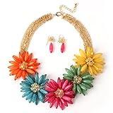 Multi Strands Pendant Flowers Statement Necklace Earrings Set,Multi color