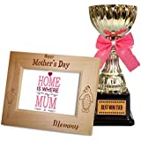 TiedRibbons Gift For Mother From Daughters Quotes Engraved Wooden Photo Frame With Golden Trophy