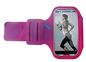 Blovess Ultra Thin Sport Lycra Armband Exercise Running Belt for Gym Workouts, Jogging, Walking, Cycling, Suitable for iPhone 6 Plus, iPhone 5, 5s, Samsung S5, S4, HTC, LG, Nokia and More (Hot Pink)