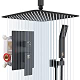 SR SUN RISE 16 Inches Matte Black Shower Set System Bathroom Luxury Rain Mixer Shower Combo Set Ceiling Mounted Rainfall Shower Head Faucet (Contain Shower Faucet Rough-In Valve Body and Trim) (Color: Matte Black, Tamaño: 16 Inch)
