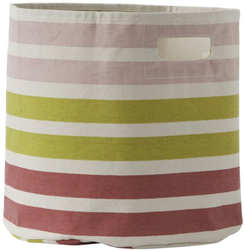 Pehr Designs 3 Stripe Bin, Pink/Citron