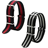2pc 22mm Nato Ss Nylon Striped Black/Red,Black/Grey Interchangeable Replacement Pebble Lg Watch Band