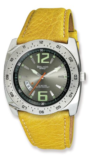 Bellagio Men's Liguria Euro Series Stainless Steel Charcoal Sun-Ray Dial Yellow Genuine Leather Strap Date Watch # 12012-4Y