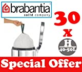 30 x 40-50L Litre Brabantia Smartfix Bin Liners Waste Bags Sacks Type H 8.8-11 UK Gal