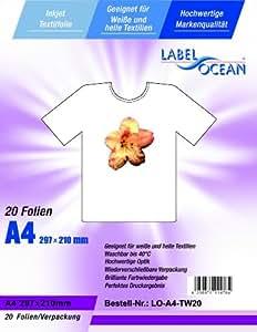 20 Feuilles DIN A4 transferts pour textile - Film T-shirt pour les tissus clairs et bancs