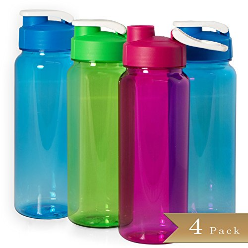 Pack of 4 - Transparent Sports Water Bottles with Flip Tops - 21 oz - Assorted Color (Sport Bottles Bulk compare prices)