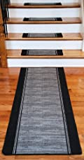 Washable Non-Skid Carpet Stair Treads - Boxer Grey (13) PLUS a Matching 5' Runner