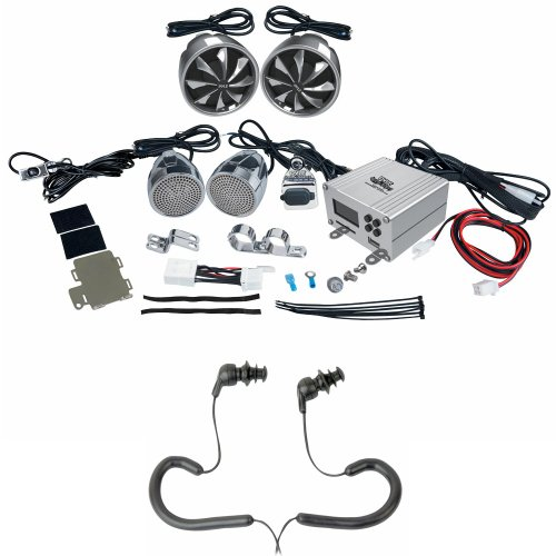 Pyle Auto Mobile Amp, Speaker And Earphones Package - Plmca98 600 Watts Motorcycle/Atv/Snowmobile Mount 4 Channel Amplifier W/ Handlebar Mount Aluminum Die-Cast Weatherproof Speakers W/Mp3/Ipod Input, Usb/Sd Card Insertion And Usb Charger W/ Fm Radio - Pw
