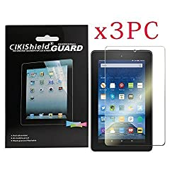 Cikishield for Amazon New Kindle- Fire Tablet 7 7 Inch (5th Generation - 2015 Release) Premium Clear Screen Protector [3-pack] with Lifetime Replacement Warranty (Fire 7 Premium Clear [3-Pack])