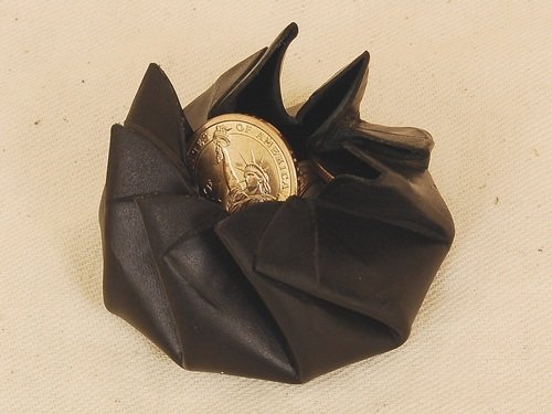 Leather Spiral Opening Squeeze Coin Purse. Rose Coin Pouch