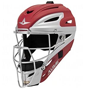 All Star System 7 Matte Youth Catchers Helmets Scarlet Grey by All-Star