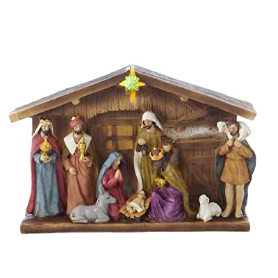 Kurt Adler J7668  Battery Operated Nativity Table Set, 12-Inch