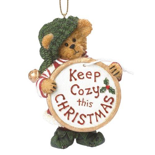 Boyds Resin Ho Elf Bear W/ Gift Tag Ornament