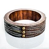 Devbeads Designer Brown Wood Bangle For Women