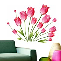 StickersKart Wall Stickers Pink Tulips Bouquet (Wall Covering Area: 100cm x 100cm)