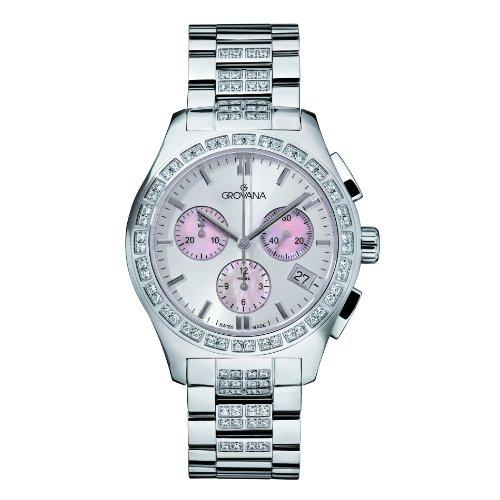 Grovana 5096,9736 - Reloj cronógrafo de cuarzo para mujer, correa de acero inoxidable chapado color plateado