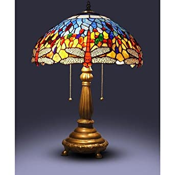 tiffany style red dragonfly table lamp. Black Bedroom Furniture Sets. Home Design Ideas