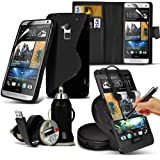8-IN-1 Monster Pack HTC One Max PREMIUM PU 3 CARD SLOTS Leather Wallet flip Case Skin Cover + LCD Screen Protector Guard + S Line Wave Gel Case + 360 Rotating Car Holder + 3.5 MM Earbud Earphone + Micro USB Flat Cable + Bullet Car Charger + Large Touchsc