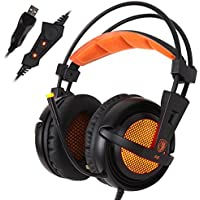 SADES A6 USB PC Gaming Headset 7.1 Surround Sound Stereo Gaming Headphones Over Ear Headband With High Sensitivity...